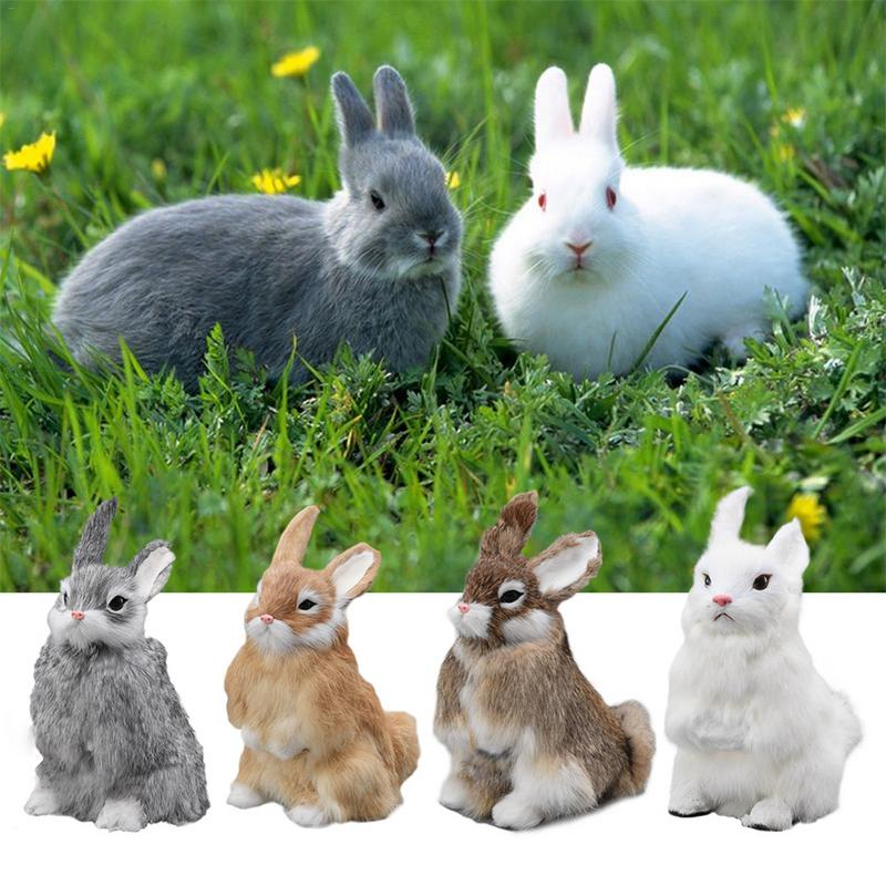 Cute Animal Easter Bunny Simulation Furry Squatting Lifelike Rabbit Christmas Birthday Gifts Home Garden Ornaments Decoration