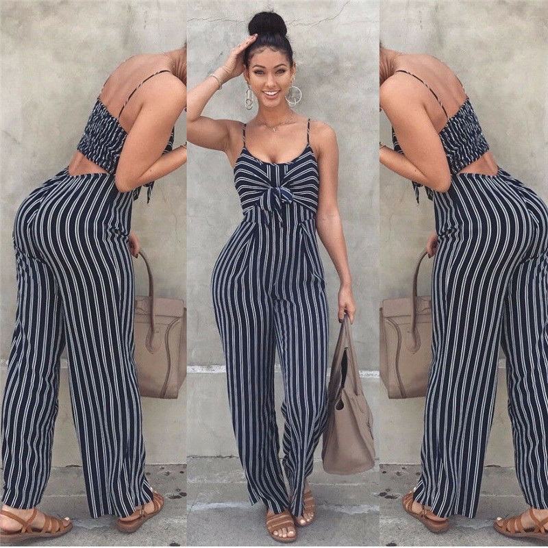 Summer Women Clubwear Playsuit Party Jumpsuit Romper Fashion Ladies High Waist Sleeveless Long Trousers