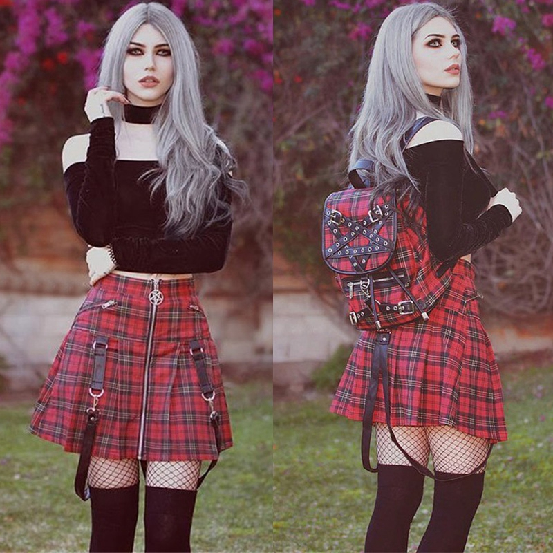2019 Newest Fashion Women School Girl Lolita <font><b>Bib</b></font> <font><b>Skirt</b></font> High-waist Print Mini <font><b>Skirts</b></font> Plaid Pleated Fashion Casual Short Mini image