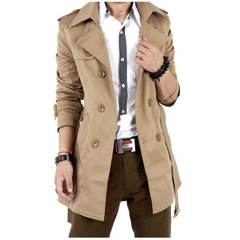 Trench Coat Men Classic Double Breasted Mens Long Coat Masculino Mens Clothing Long Jackets & Coats British Style Overcoat