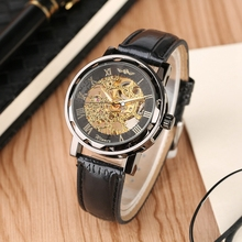 WINNER Transparent Display Hand Winding Gear Watch Men Clock Men Mechanical Skeleton Sport Wrist Watch Black Leather Watch Clock стоимость