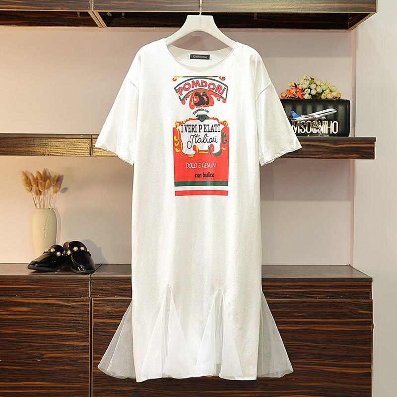 XL-4XL grande taille femmes imprimer robe à manches courtes coton t-shirt Patchwork maille sirène robes été 2019 lâche tenue décontractée