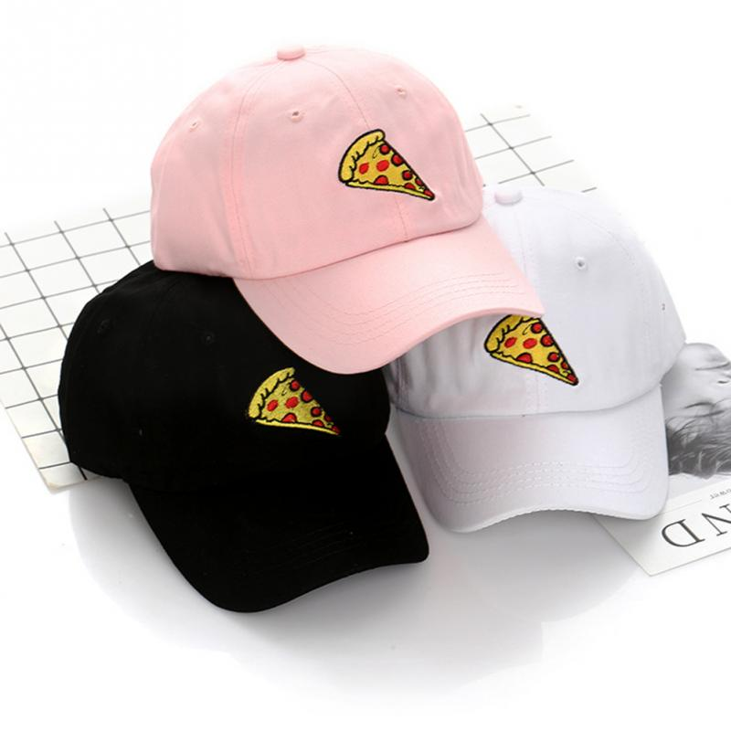 New Unisex Funny Pizza Pattern Embroidery Casual Baseball Caps Women Men Fashion Cartoon Adjustable Trucker Hat