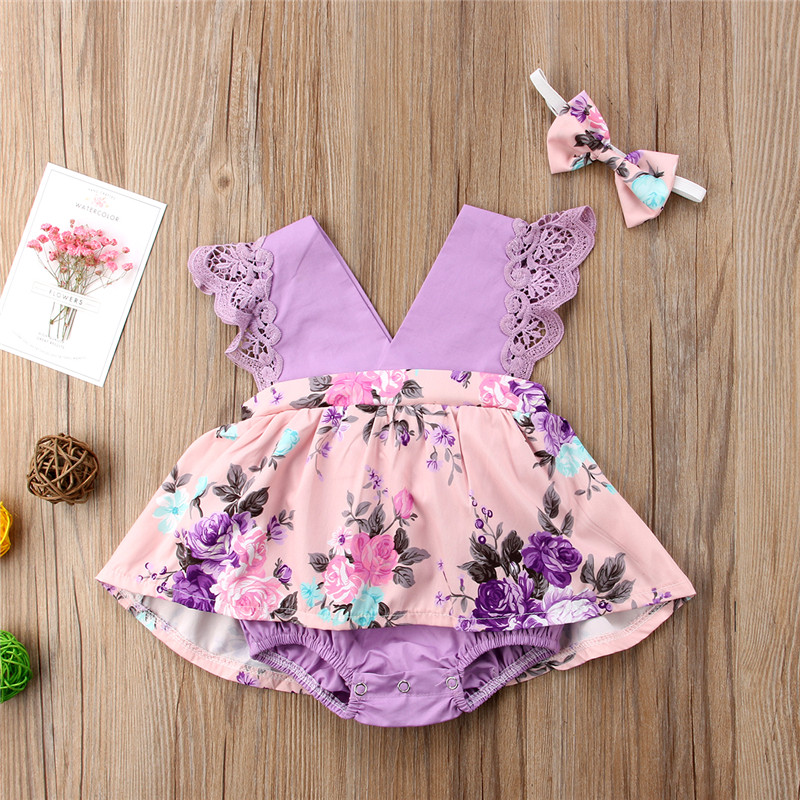 Mother & Kids Shop For Cheap Infant Kid Baby Girl Sister Matching Floral Jumpsuit Romper Dress Outfit Clothes Purple Ruffles Discounts Sale