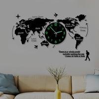 Домашний декор карта мира великолепные настенные украшения 3d наклейки Подвесные часы сверкающий в темноте уникальные часы жизнь культура