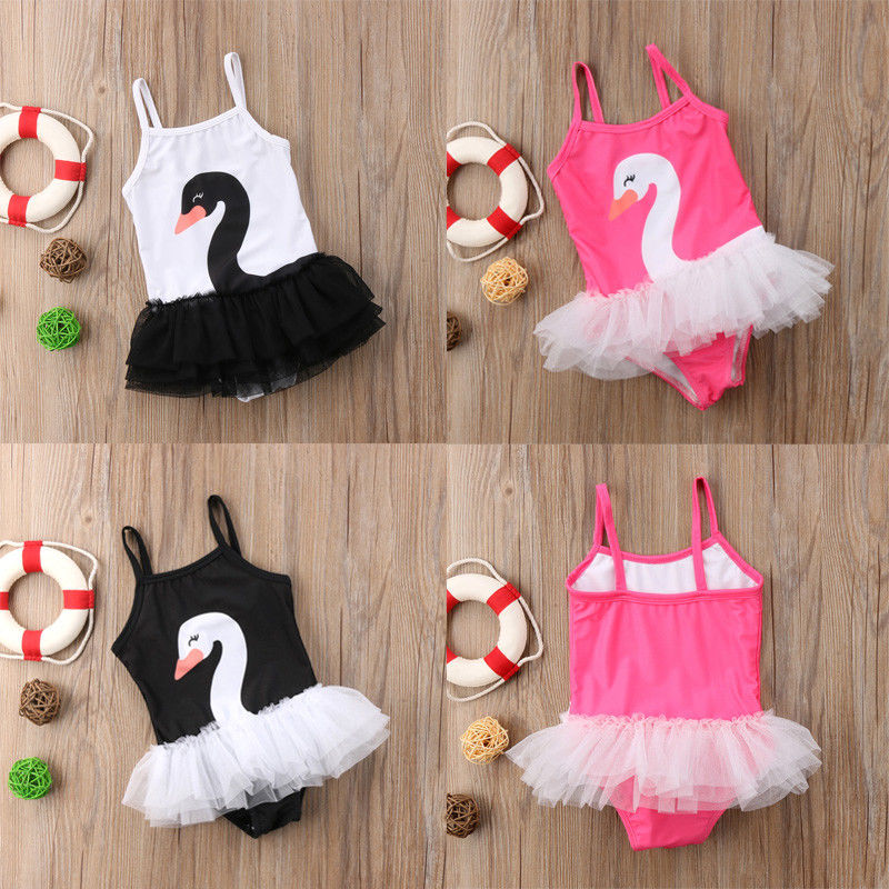 Pudcoco Girl Swimsuits 1Y-6Y US Toddler Baby Girl Swim Swan Swimwear Swimsuit Tulle Bathing Suit Beachwear