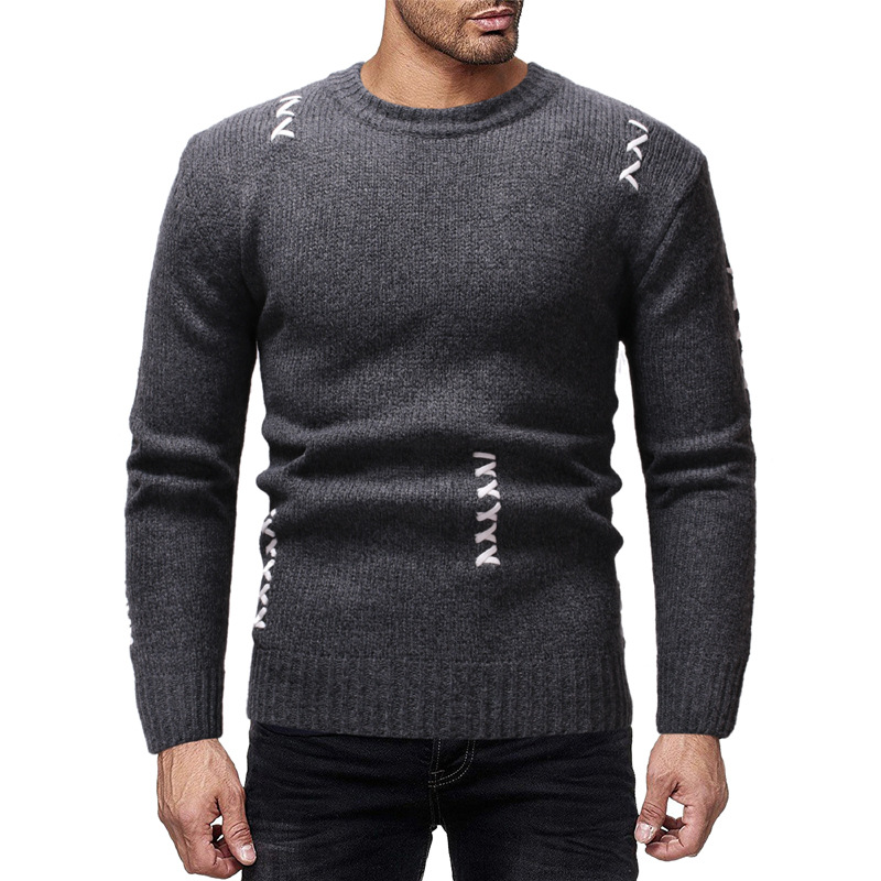 Autumn Winter New Knitting Mens Round Neck Casual Fashion Sweater Pullover Clothes Tops 3 Colors