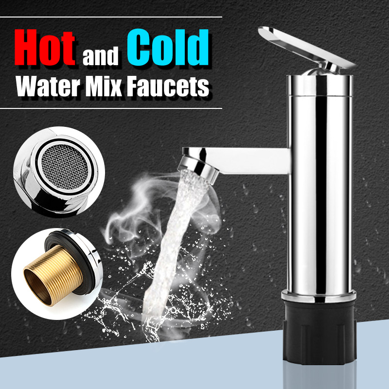 Deck Mounted Hot And Cold Water Mix Faucets Home Kitchen Bathroom Basin Sink Water Faucet Single Handle Washbasin Tap