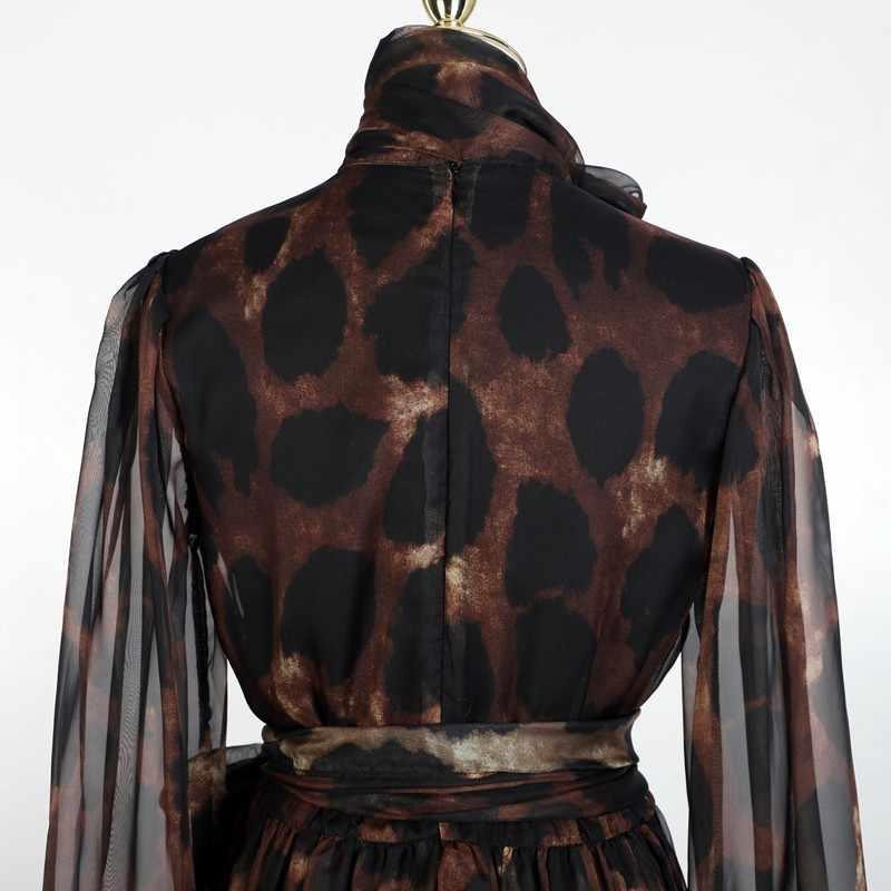 [LIVIVIO] винтажное леопардовое мини-Бандажное платье с рукавами-фонариками из прозрачной сетки 2019 женская одежда элегантная корейская мода