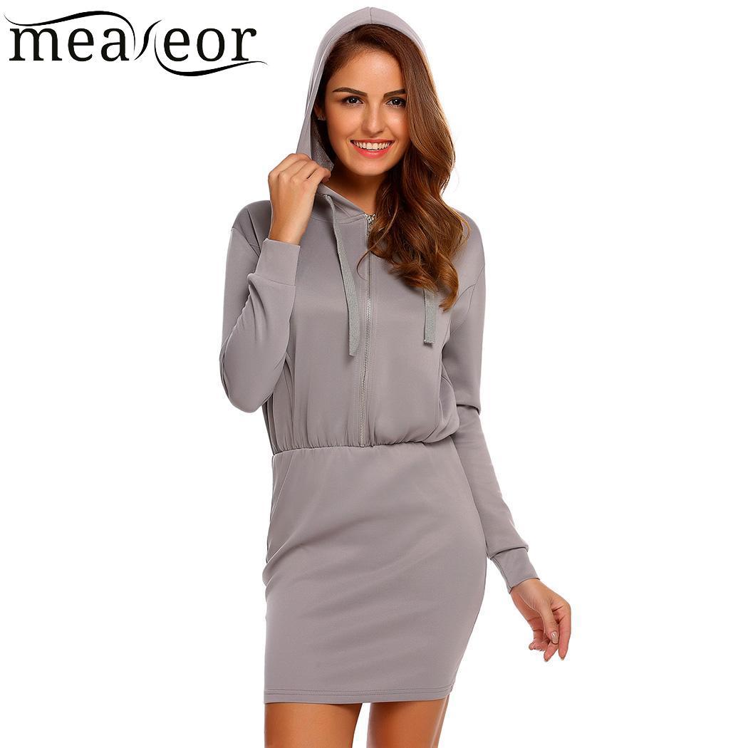 meaneor Vestidos Women Fashion Hooded Long Sleeve Solid Zipper Dress Sweatshirt Size Plus Hoodies Mini Slim Dresses