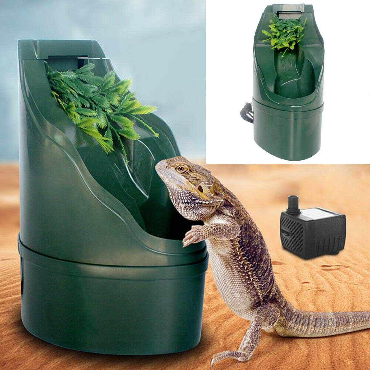 180*125mm ABS Automatic Reptile Water Drinking Filter Feeding Drinkers Tools Drinking Water Fountain Lizard Chameleon Amphibian