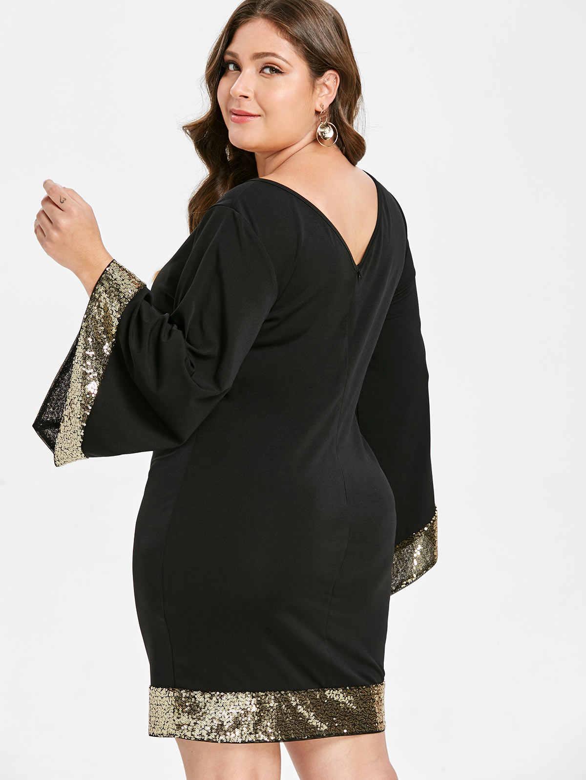 Wipalo  Вечернее коктельное платье большого размера с широкими рукавми и паетками, короткое облегающее платье на вечеринку 5XL-L