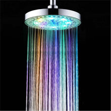 Xueqin 8 Inch Extra-Large Round LED Shower Head 7 Color-Changing Silver Chrome Face360Degree Adjustable Rainfall Sprinkler(China)