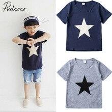 Коллекция года, новая брендовая футболка для маленьких мальчиков однотонный пуловер с короткими рукавами и принтом звезды милые топы для детей, блузка летняя футболка