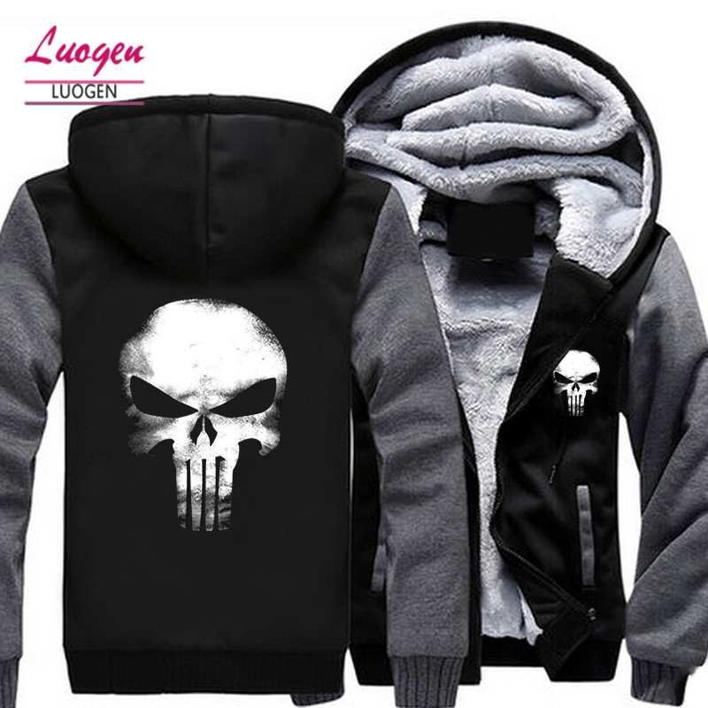 USA SZIE Punisher Skull Mäns Jackor Vinter Fleece Zipper Thicken Fleece Man Coat Men Hooded Hoodies Sweatshirts Ytterkläder
