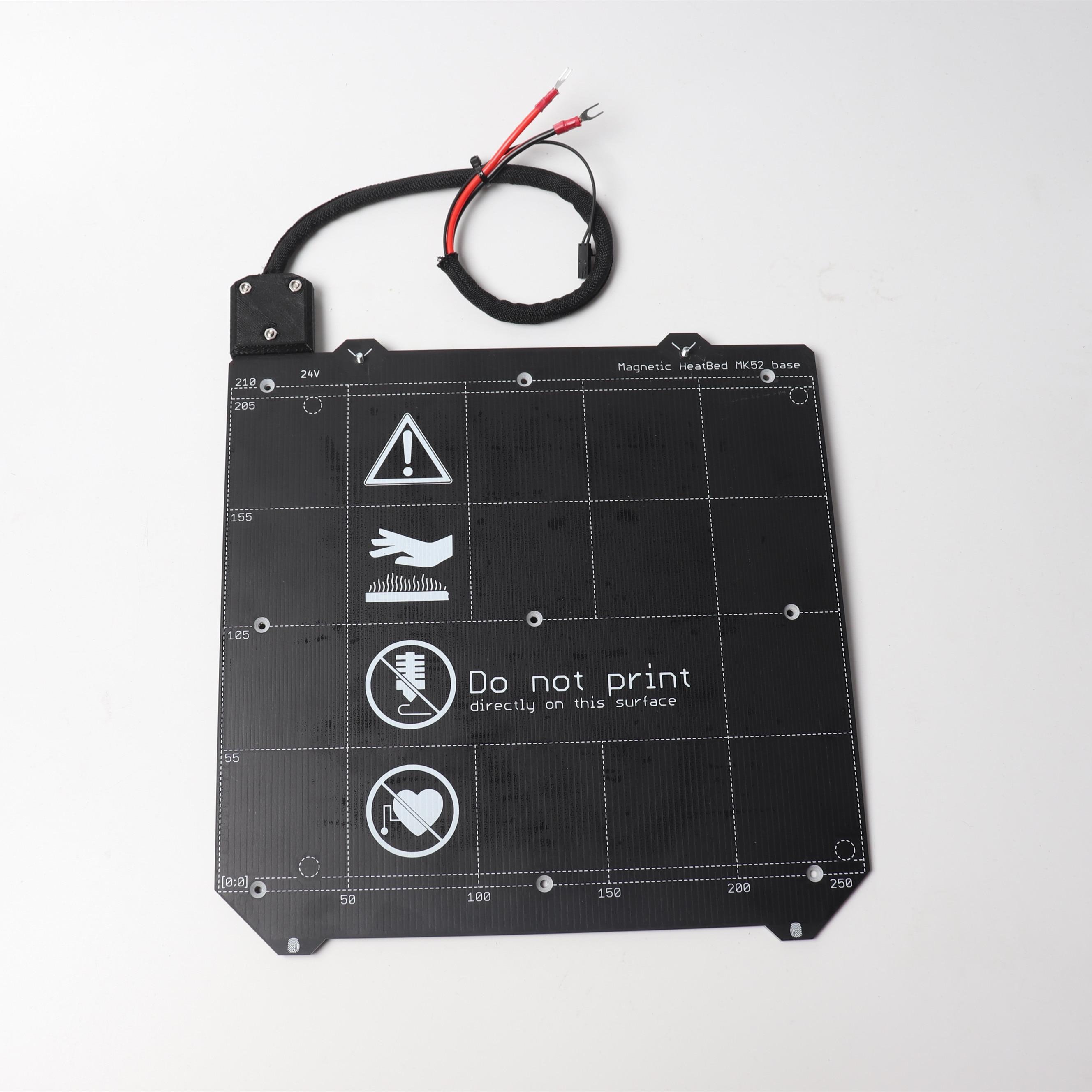 Prusa i3 MK3/MK3S 3d impressora de cama aquecida MK52 24 V montado, N35UH ímãs, cabo de alimentação, termistor, manga têxtil