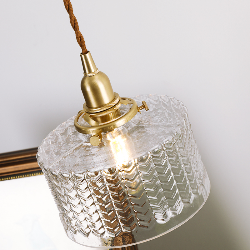 EL Vintage Pendant Lights Ripples Glass Copper Pendant Lamp Modern Pendant Light Bedroom  Brass Lamp Indoor Lighting