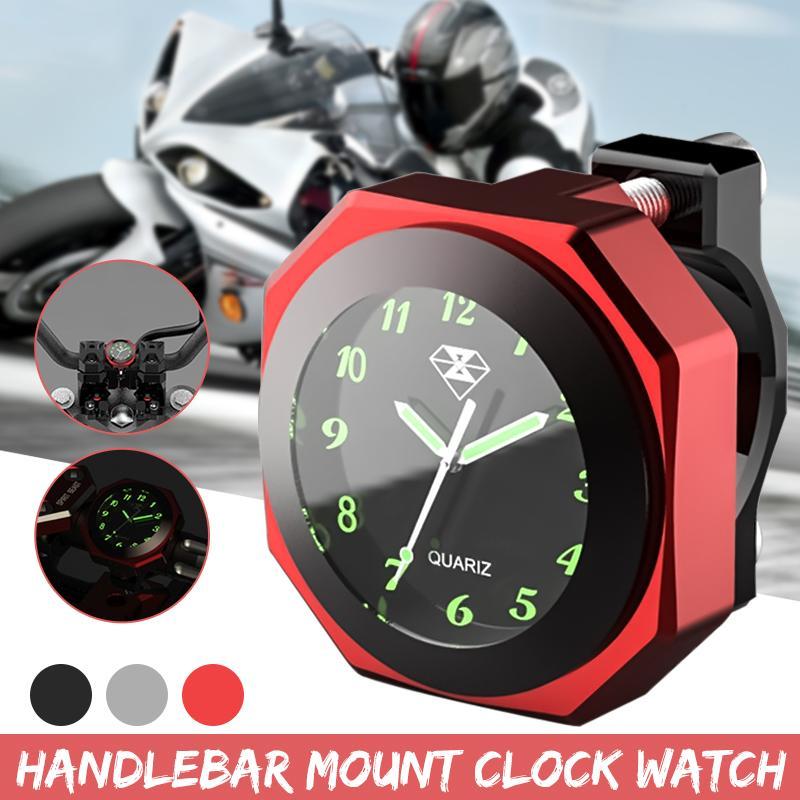 Liga De Alumínio Universal 1 3 Cor 7/8 polegada polegada Motocicleta Guiador Montar Relógio Luminoso Relógio CNC Cromo Acessório Da Motocicleta