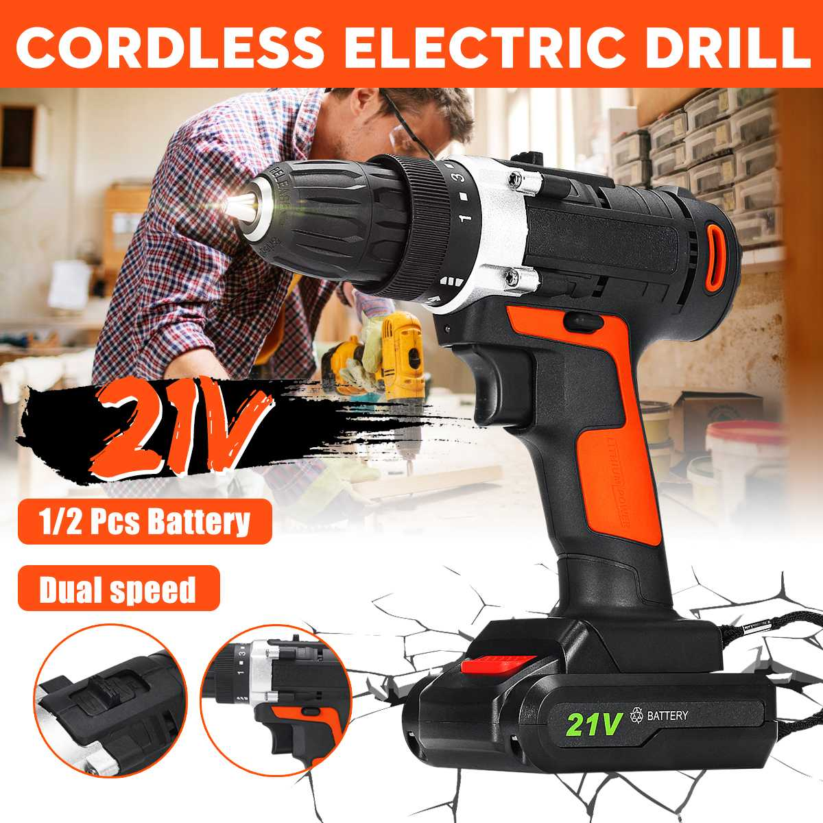 21V 2 Speed Cordless Electric Drill Bits Electric Screwdriver Impact Wrench Kit LED light Rechargeable with 2 Battery Power Tool21V 2 Speed Cordless Electric Drill Bits Electric Screwdriver Impact Wrench Kit LED light Rechargeable with 2 Battery Power Tool