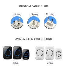 EU UK US Plug Smart Door Bell Waterproof Wireless Doorbell 300M Remote CALL Chime 220V 1 Buttons 2 Receivers Door Bell yifan wireless doorbell waterproof eu us au plug door bell chime 300m remote 433mhz ac 110v 220v 2 emitter 1 receiver no battery