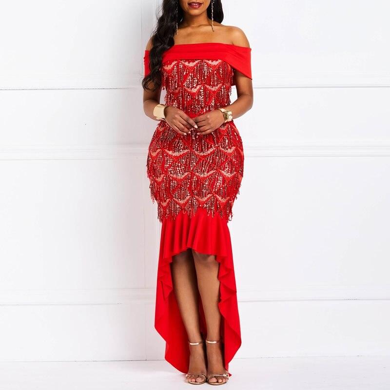 f337772711ab Vestidos Elegantes de verano de 2019 con hombros descubiertos y ...