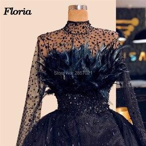 Image 2 - Dubai Design Feathers Navy Blue Evening Dresses Abendkleider Islamic Prom Dress For Weddings Vestido Arabic Beaded Pageant Gowns