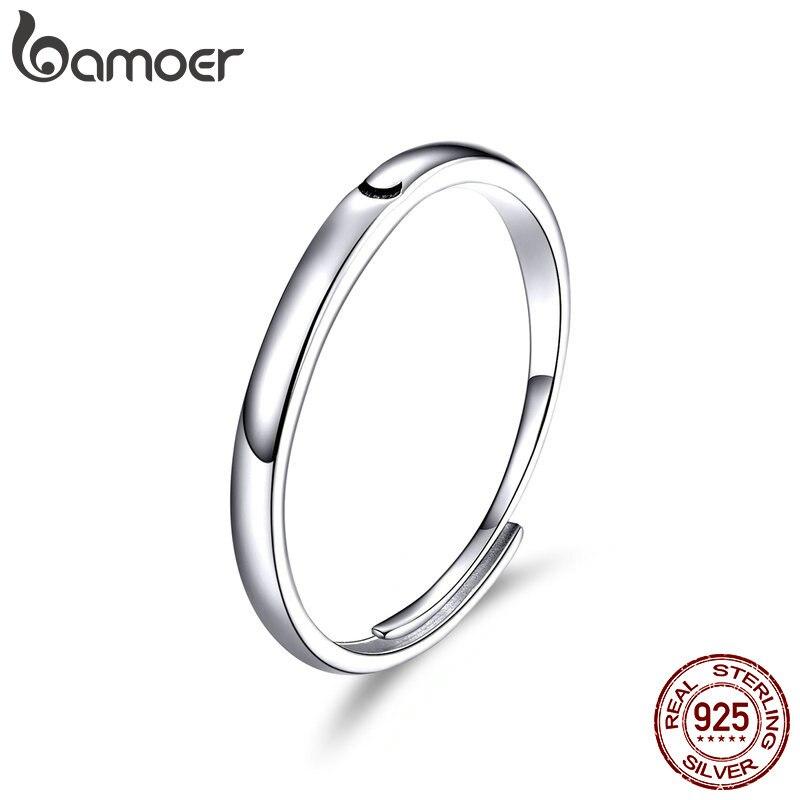 BAMOER 925 Silver Jewelry Enamel Ring For Women Black Moon Open Adjustable Minimalist Big Rings Womens Jewellery Gifts SCR508