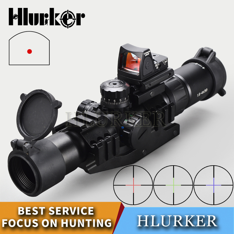 Hlurker Tactical 1.5-4x30 Hunting Optical Sight Rifle Scope Sight RMR Adjustable Red Dot Scope Spotting Scope For Rifle new tactical 4 5 14 5x50 rifle scope spotting scope for hunting shooting os1 0250