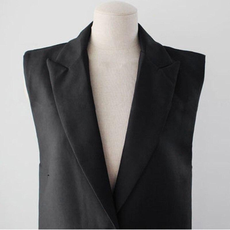 Gilets Long Vestes ewq 2018 Sans Femmes Taille De Nouveau Mode Mujer Grande Noir Manches Chalecos Gilet Oc065 Black Revers Printemps dPPqr7w