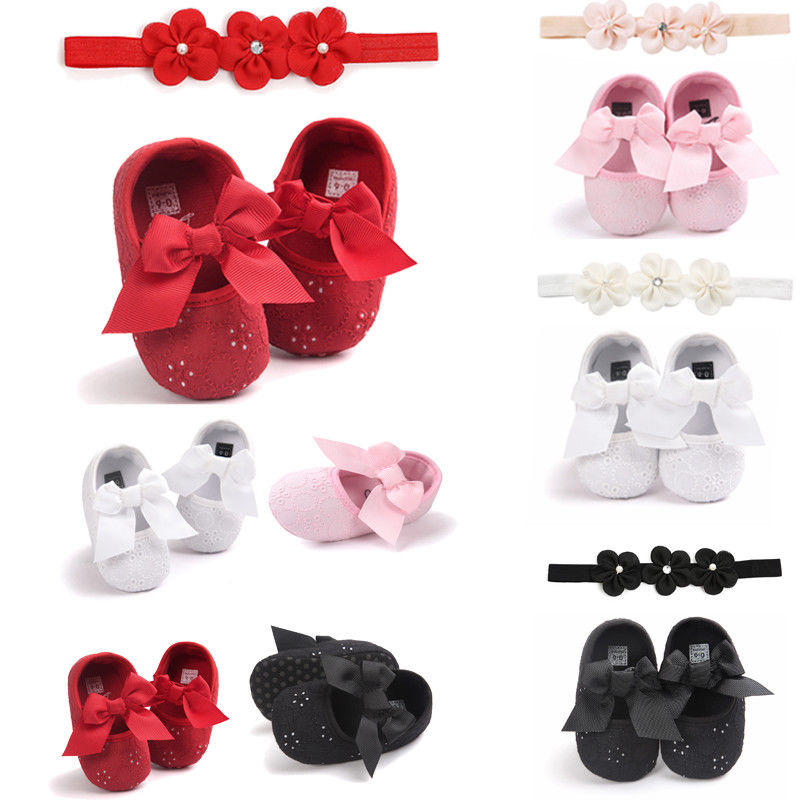 2019 New Brand Bordered Bow Tie Baby Newborn Toddler Girl Crib Shoes Pram  Anti-slip Sneakers Soft Sole 0-18 M