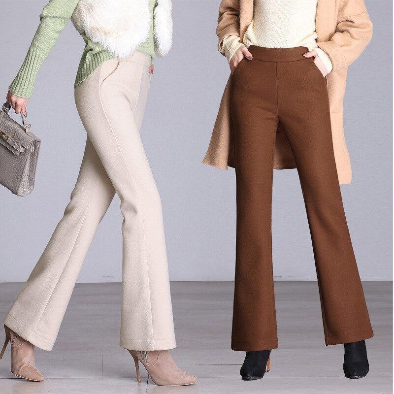 Nero Autunno Stile Il Libero Solido 2018 Tempo Beige Colore Caldi Nuovo Pantaloni Selvaggio E il Svasato Lana Semplice Femminile Per Di Inverno CqYp1w1