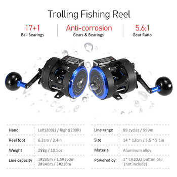 Fishing Reel 17+1BB 5.6:1 Trolling Reel Left / Right One-way Clutch Bait Fishing Reel with Digital Display Pesca Line Counter