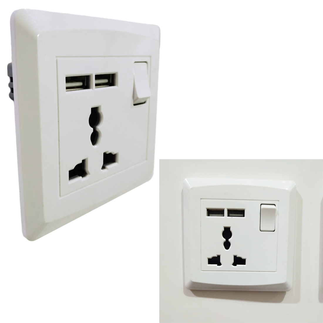 86*86mm AC220-250V 13A USB charging panel socket Household office wall switch socket British switch socket