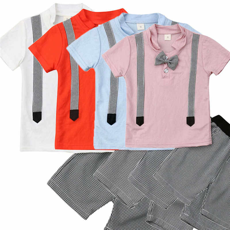 Baby Jongen Wedding Formele Tuxedo Suit Bowtie Gentleman Shirt Broek Pasgeboren Outfit Vier-kleur Pak