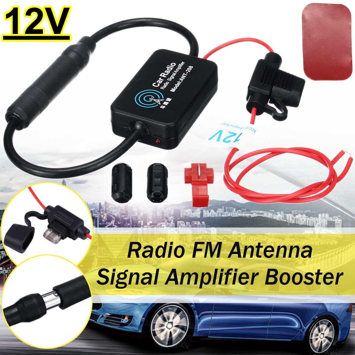 12V ANT-208 Universal Auto Car Radio FM Aerial Antenna Signal Amplifier Booster With Clip Car Radio Aerials Car Accessories