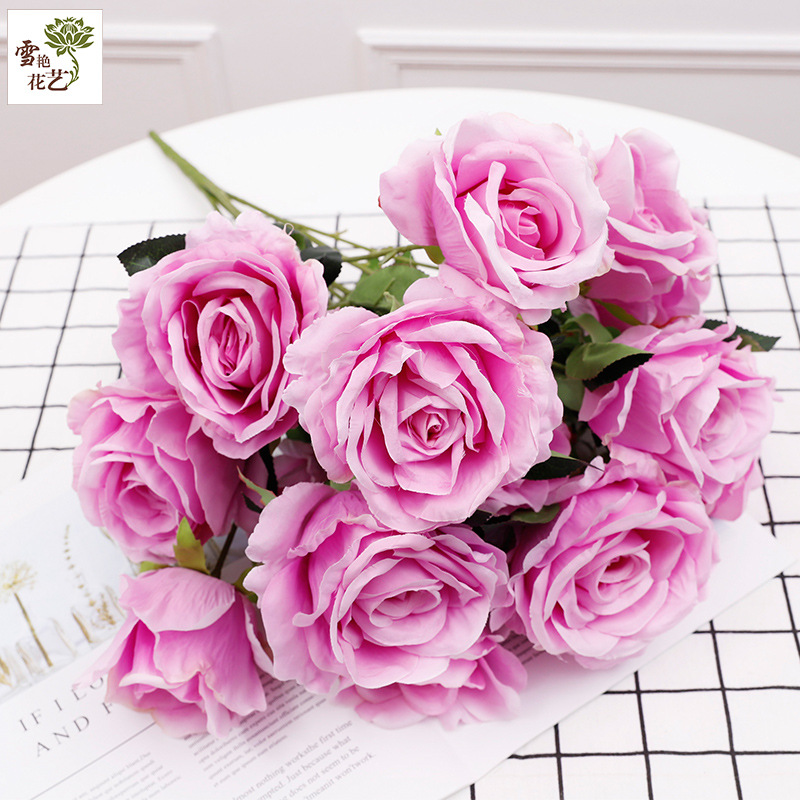 New Style European Simulation Bouquet 15 Head Rose Ornaments Living Area Decoration Table Floral Silk Flower Imitation