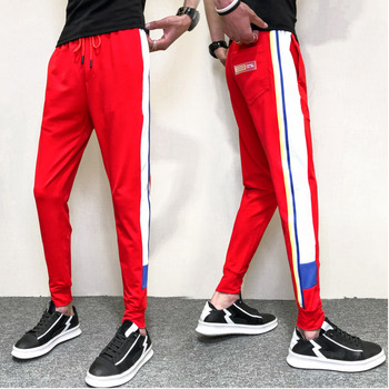 Spring New Track Pants Men Fashion Contrast Color Casual Trousers Man Streetwear Wild Hip Hop Loose Joggers Sweatpants Male autumn new joggers pants men fashion contrast color casual sweatpants men streetwear loose hip hop trousers man track pants