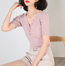 Spring and summer new style Korean womens solid color knitted Chiffon shirt Slim-fit sweater top