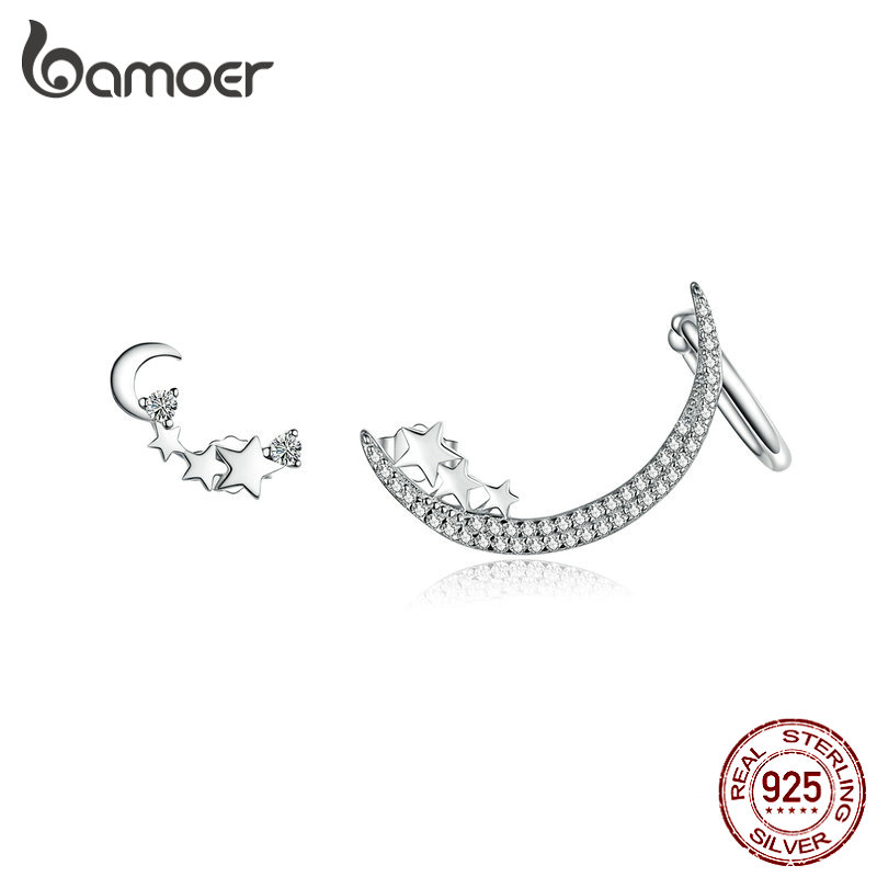 BAMOER Star & Moon Earrings 925 Sterling Silver Asymmetry Shining Crystal Stud Earring for Women Luxury Brand Jewelry SCE616BAMOER Star & Moon Earrings 925 Sterling Silver Asymmetry Shining Crystal Stud Earring for Women Luxury Brand Jewelry SCE616
