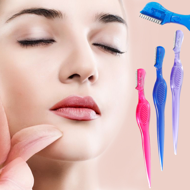 1 piezas de cejas Trimmer de las mujeres pelo de CEJA seguridad eliminación de afeitar mango recto Shaper herramienta de maquillaje La Ceja de la hoja