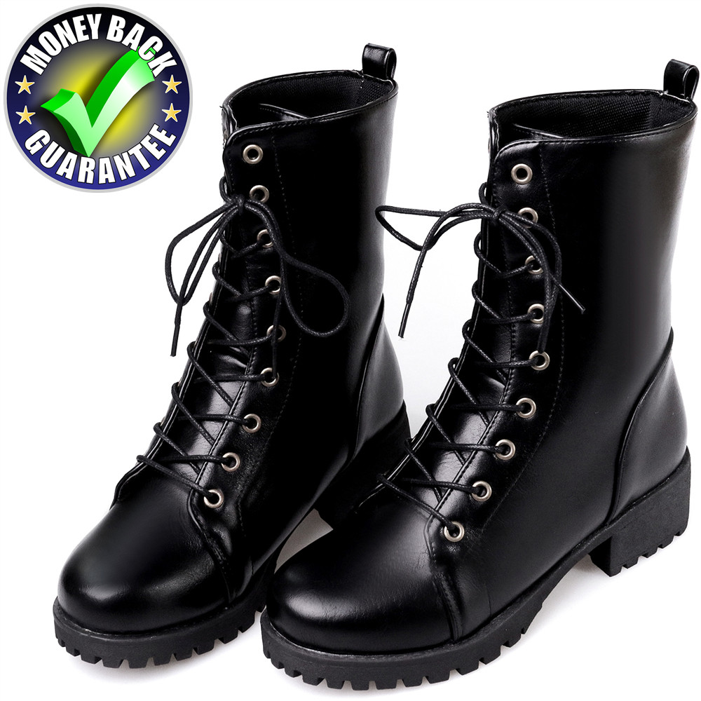 New Black Leather Ankle Boots For Women Boot Autumn Winter Cotton Shoes Warm Snow Boots Mujer Punk Riding Equestr Martin Boots