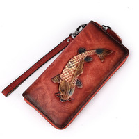 New Women Wallets Genuine Leather Wallet Long Men Clutch Bag Zipper Wallet Purse Vintage Embossed Wallet Carteira Feminina