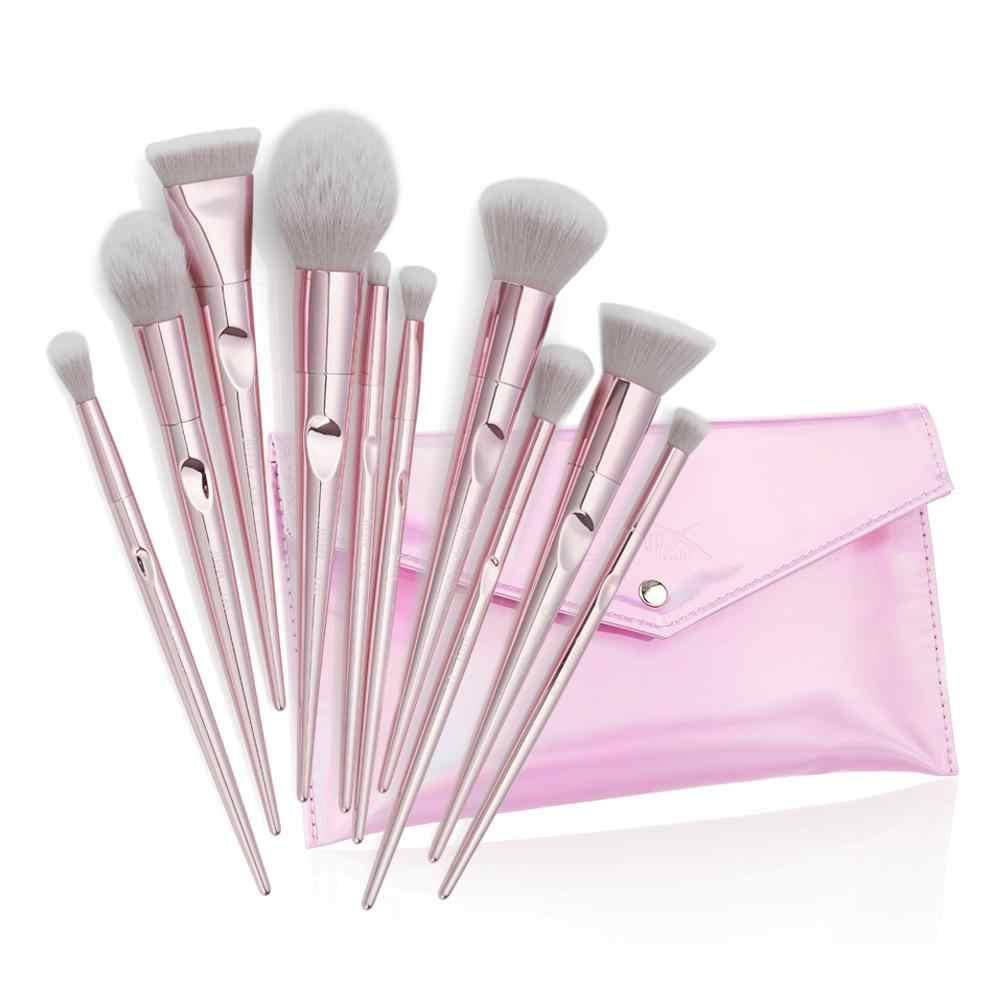 BellyLady 10 Pcs/set Makeup Brushes Set Foundation Cosmetic Eyebrow Eyeshadow Brush with Storage Bag