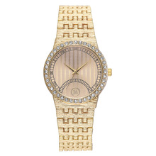 Steel Belt Watch Mosaic Rhinestone Dial Alloy Quartz Roman Digital Personality Fashion for Women
