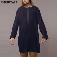 INCERUN Men T Shirt Cotton Long Sleeve Solid Thin Tee Tops Retro Islamic Kaftan Loose Casual Long T-shirt Men Indian Kurta Suit(China)