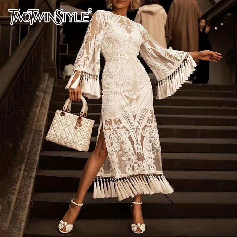 TWOTWINSTYLE Elegant Heavy Embroidery Tassel Dresses Female Flare Sleeve High Waist Side Split Party Dress Women