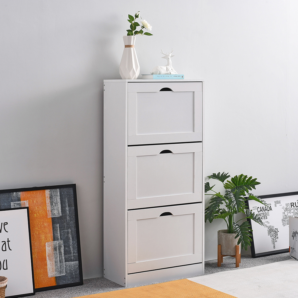 Cabinet:  Panana Home Furniture Livingroom Shoes Storage with 3 Pull down Drawers Cabinet Cupboard White - Martin's & Co