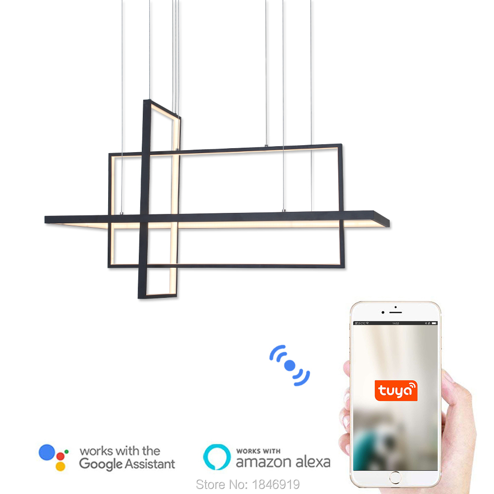 Moderne Led lustre lumière intelligente Wi-Fi île éclairage suspendu Suspension lampe en Aluminium pour salon salle à manger cuisine