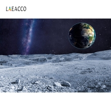 Laeacco Universe Moon Aerial View Earth Starry Night Photography Backgrounds Customized Photographic Backdrops For Photo Studio