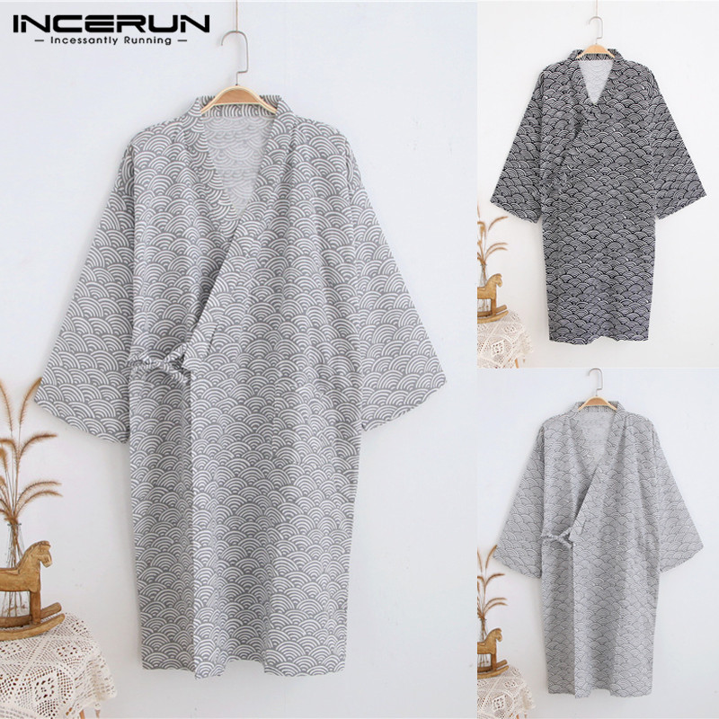 INCERUN Men Robes Print Japanese Style Kimono Soft Loose Sleepwear Short Sleeve Comfortable Women Bathrobes Homewear 2020 S-5XL